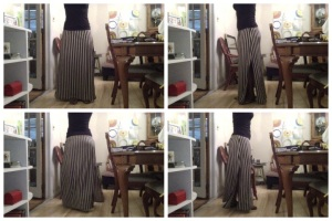 Black and Tan Striped Maxi Skirt